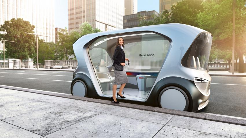 Image: Bosch' driverless shuttle represents Bosch' vision of the future of mobility.