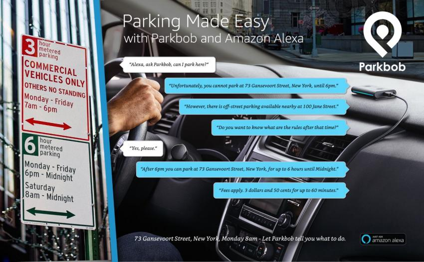 Image: This is how the future of parking can sounds like, thanks to the partnership of Parkbob with Amazon.