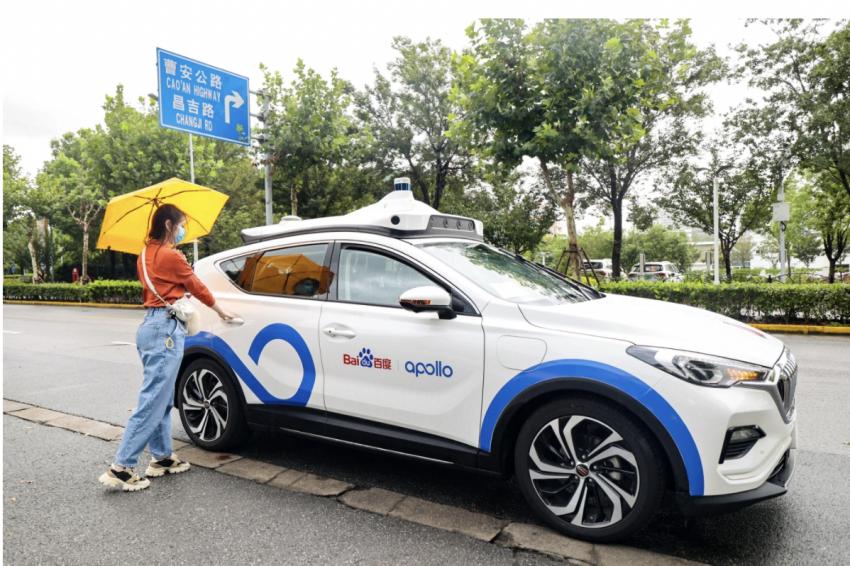 A Baidu Apollo Go robotaxi ready for testing in Shanghai